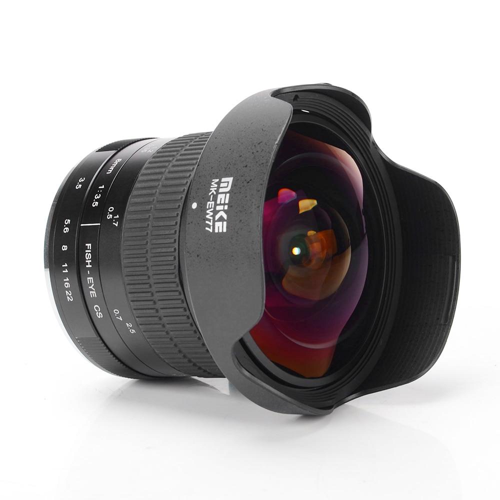 Meike MK-8.0mm F/3.5 objectif fixe sans Zoom 8.0mm Ultra large Ultra HD F/3.5 Fisheye objectif pour Canon/pour Nikon DSLR appareils photo 70D 80D