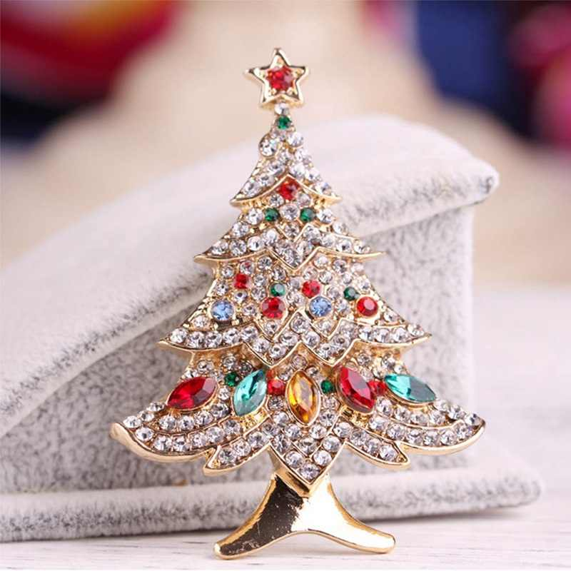 New Christmas Tree Brooches For Women Vintage Multi-Colored Christmas Tree Rhinestone Brooch Pin Wedding Party Jewelry