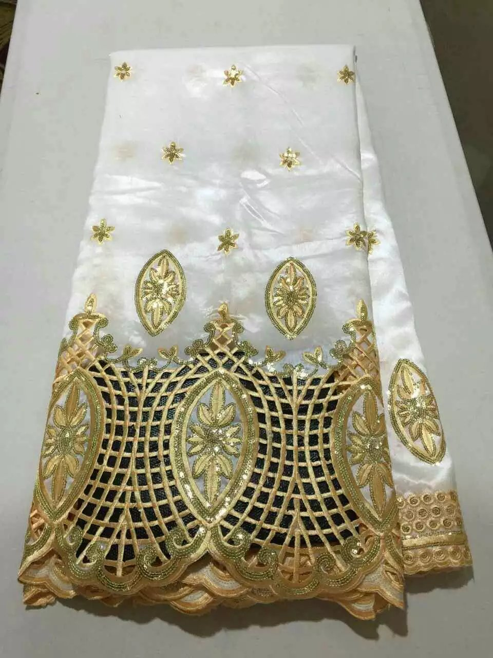 High quality african george lace white and gold sequins for Georges chakra gold wedding dress price