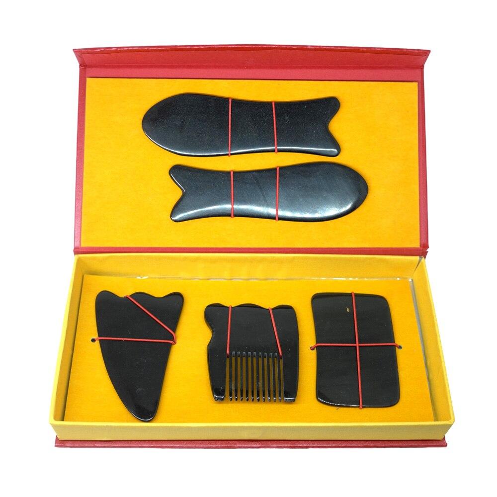 Boa qualidade! (Gráfico Guasha presente) Acupuntura WholesaleTraditional Ferramenta Massagem Gua Sha 100% chifre de búfalo 5 peças/set