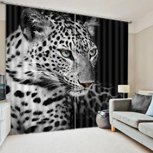 Black spotted Leopard/Tiger Curtains 3D Photo Printing Blackout For Window Living Room Bedding Room Hote Office Sofa Decoration