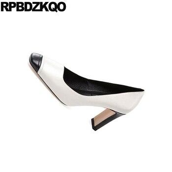 Bombas De Gamuza 3 Pulgadas De Cuero Genuino Multi Color Metal Fiesta Mujer Europea Zapatos De Diseñador Zapatos Grueso Cuadrado Del Dedo Del Pie Zapatos De Tacón Alto De Piel De Serpiente