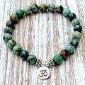 SN1035 Genuine African Turquoise Wrist Mala Beads Chakra Bracelet Yoga Bracelet Buddhist Prayer Healing Jewelry Free Shipping
