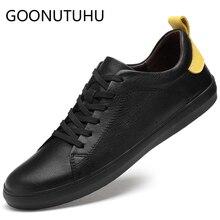 цены на 2019 new men' shoes casual genuine leather male flats sneakers white & black shoe man platform shoes for men hot sale size 36-45  в интернет-магазинах