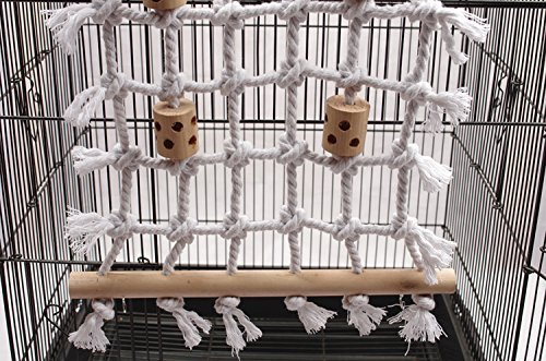 Parrot Climbing Net Cotton Rope Bird Cage Wood Toy Play Gym Hanging Swing Net Parrot Bird Hammock Decor for Budgies Parakeet 4