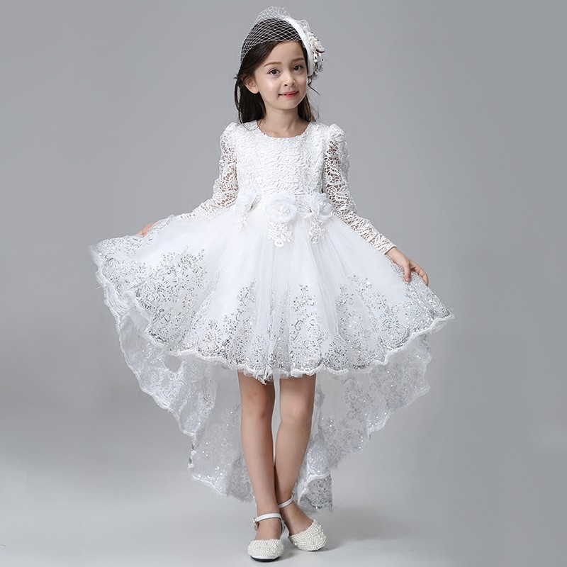 2018 New Spring Lace  Elegant Princess Girl Dress Children Party Prom Long Trailing flower Wedding White Birthday Girl Dress