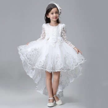 Elegant Lace Long Sleeves Princess Girls Dovetail Dress Kids Children Trailing Sequins Flower White Birthday Party Prom