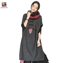 Jiqiuguer Для женщин Вышивка лоскутные шерстяные платья без рукавов с круглым вырезом свободные длинные трикотажные платье осень-зима Vestidos G163Y028
