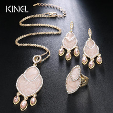 New Fashion Vintage Wedding Jewelry Sets For Women Enamel Zircon Ring And Necklace Earrings Gold Color 3Pcs Bohemia Jewelry Set blucome brand design rose gold color square cubic zircon ceramic earrings ring set chinese porcelain women wedding jewelry sets