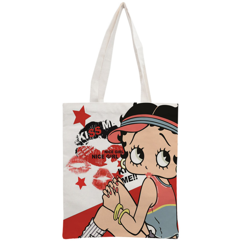Custom Betty Boop Cotton Canvas Shopping Bags 30x35cm Tote Bag Reusable Handbag Women Shoulder Cloth Pouch Foldable