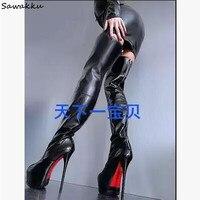 Сексуальные ультра 16 см высокие каблуки Для женщин ботинки с высоким голенищем на шпильках и платформе сапоги до бедра черные кожаные кругл
