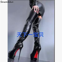 Sexy Ultra 16cm High Heels Women Long Boots Platform Stiletto Thigh High Boots Black Leather Round Toe T Stage Shoes For Ladies