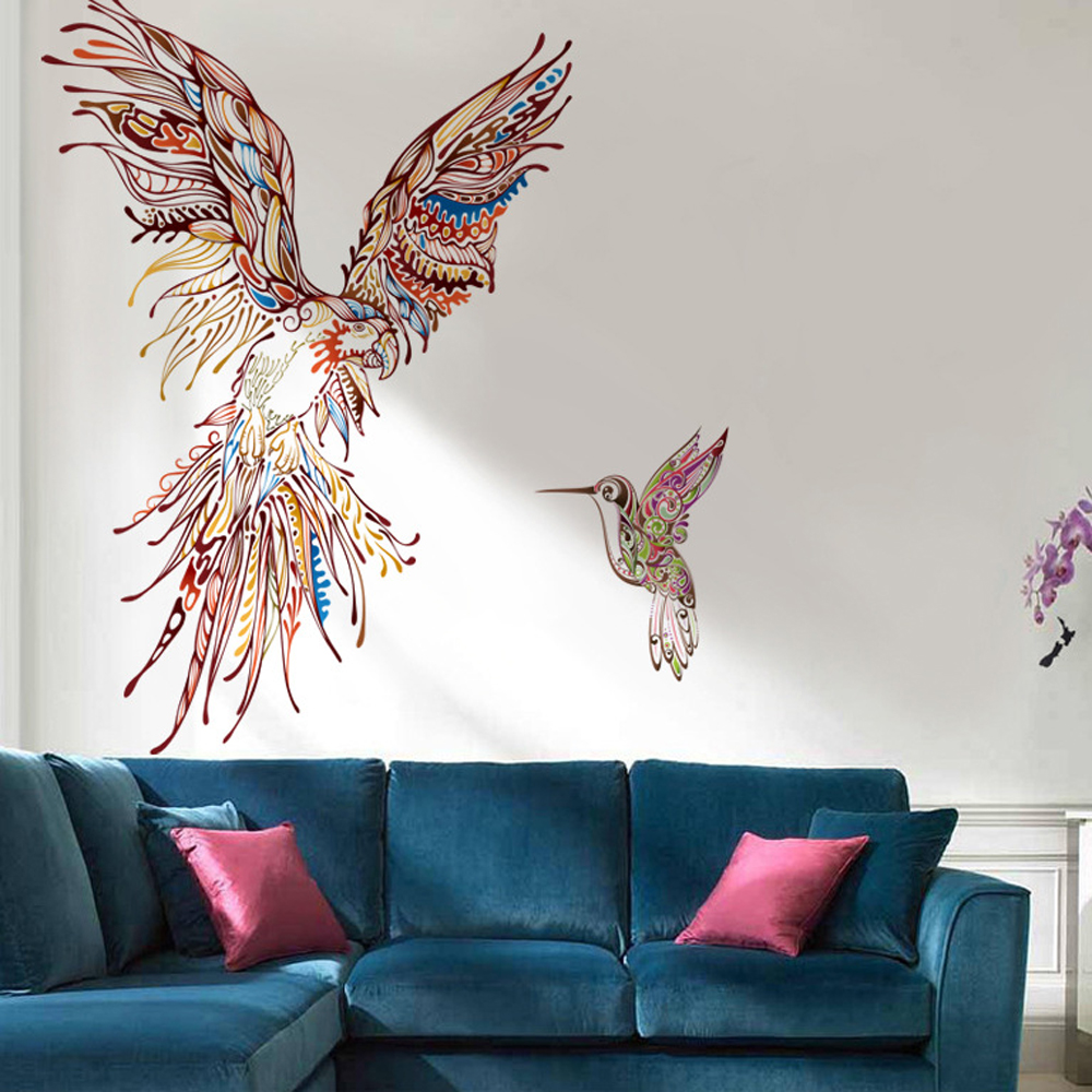 large cartoon parrot bird wall wall sticker diy wall decal art for for living room. Black Bedroom Furniture Sets. Home Design Ideas