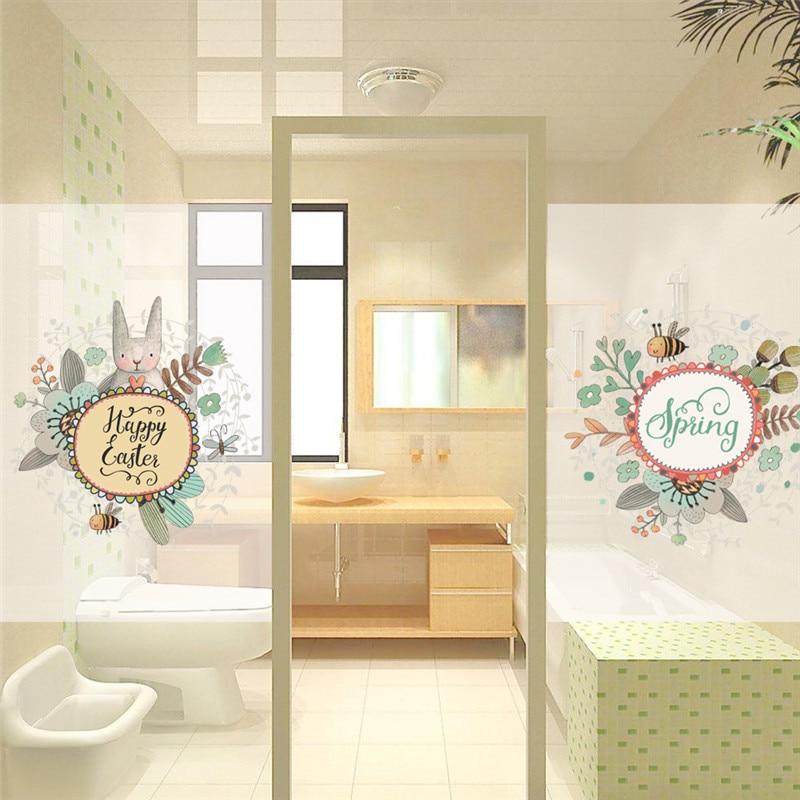 Happy Каст Весна Декор Окна Наклейки магазин окна на сад пчела холодильник Декор Наклейка на стену искусств плакат