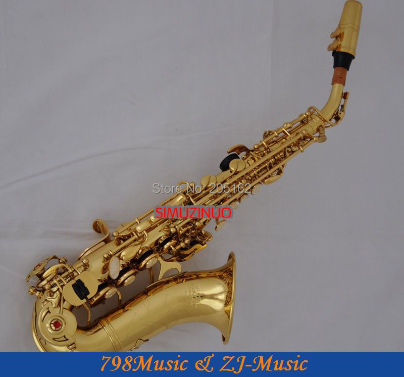 Zlatý lak sopránový saxofon Bb klíč k klávesu High F a klávesu G