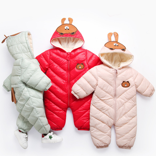 2018 New born infant Snow Wear Coat Winter snowsuits Jumpsuit Baby clothing Boy Fleece lining Warm Romper baby Girl clothes