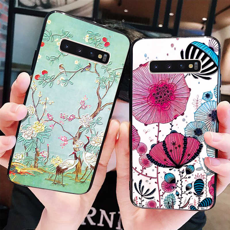 3D Emboss Floral Coque For Samsung Galaxy A40 A30 A50 A70 A6 A7 A8 S7 Edge S8 S9 S10 Plus Note 8 9 J5 J7 2016 2018 Soft TPU Case