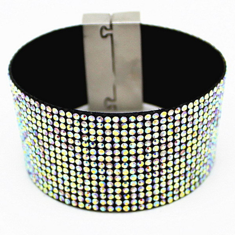 AB Crystal Leather Bracelet Wholesale Fashion Cuff Bracelets, Diamante Women bracelets, Micro Pave CZ Woven Belt+Magnetic Clasp