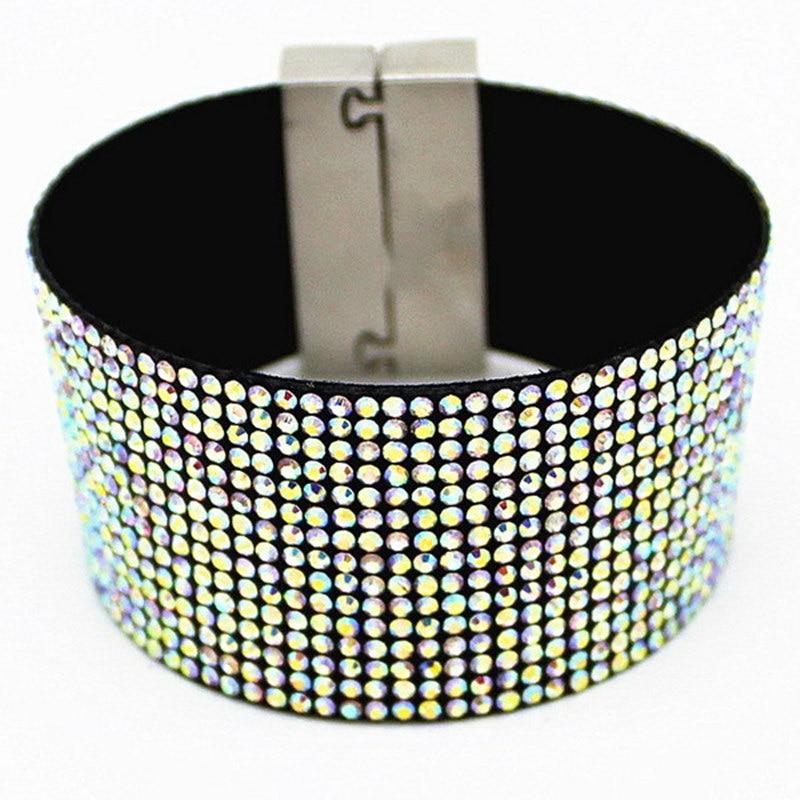 Ab Crystal Leather Bracelet Wholesale Fashion Cuff