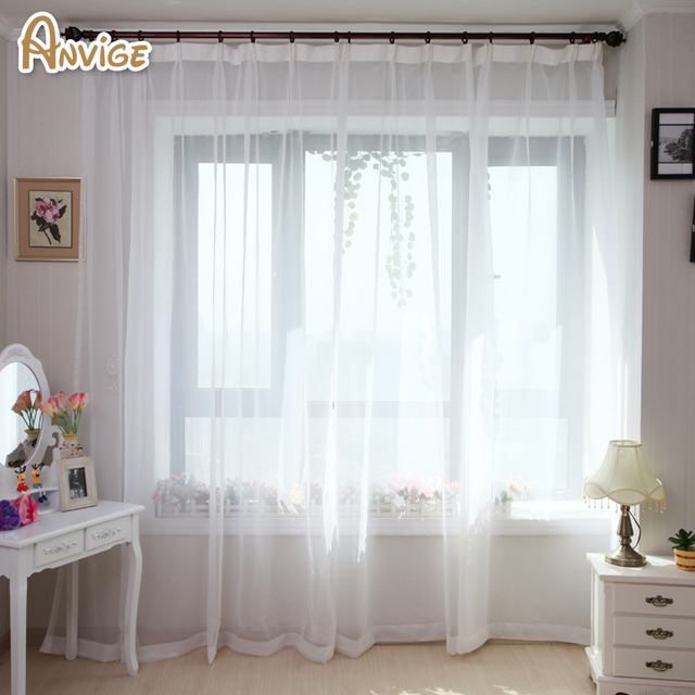 Anvige Modern Solid White Yarn Curtain Window Tulle Curtains For Kitchen Living Room Treatments Voile 1 Panel