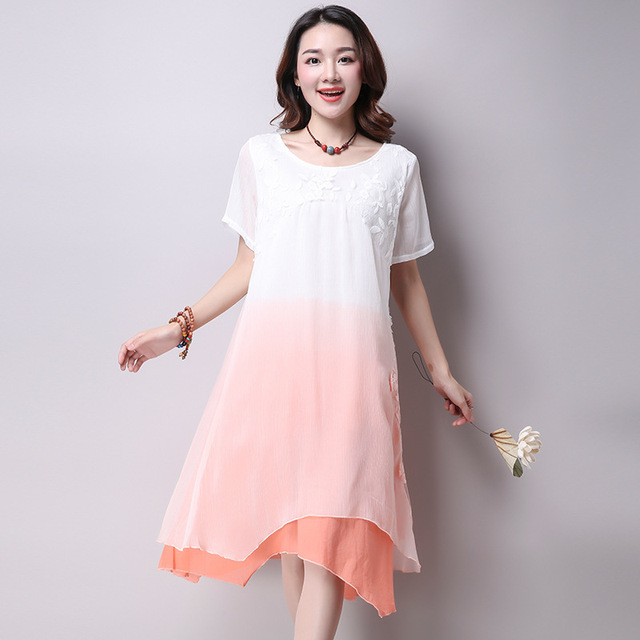 485d86f3b9c 2017 Summer Wear Large Size Ladies Dress Gradient Loose Silk Dresses for Pregnant  Women Outfits Maternity Clothes Vestido YFQ101