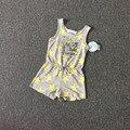 Детская одежда девушки комбинезон для чулок брюки желтый рисунок дети летний наряд серый цвет 8 P / l