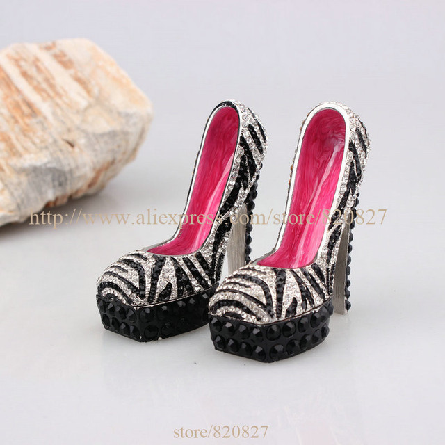Shiny Zinc Crystal studded Lady Shoe Trinket Box High Social Heels