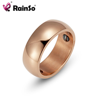 RainSo Female Hematite Health Ring Trendy Stainless Steel Simple Elegant Bio Energy Ring Titanium Steel Jewelry