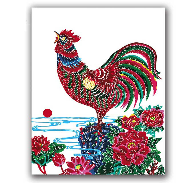 chicken painting by numbers crow chinese style coloring for living room wall decor canvas handmade in Paint By Number from Home Garden