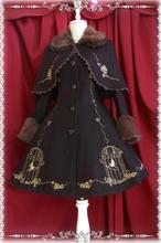 Infanta King and Nightingale Embroidery Women's Faux Fur Cuff Wool Lolita Jacket with Cape Free Shipping