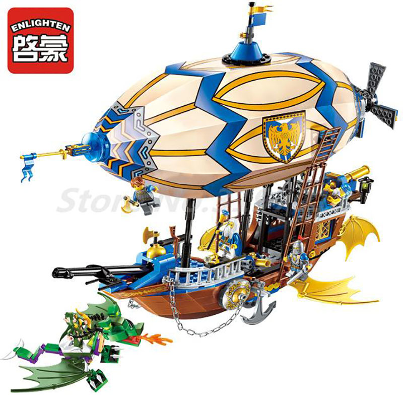 Enlighten 2316 Building Block War of Glory Castle Knights Sliver Hawk Balloon Ship 5 Figures 669pcs Educational Bricks Boy Toys