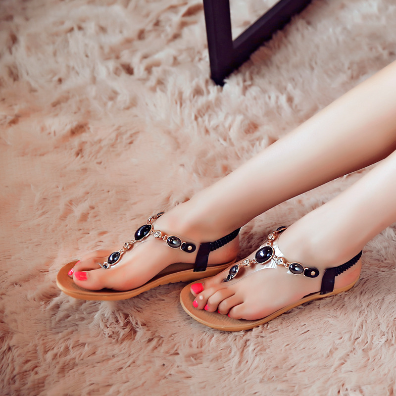 0174c84b51a4c4 Aliexpress.com   Buy 2016 Women Bohemian Beaded Rhinestone Belt Women s  beaded flat Sandals Heels Flip Shoes from Reliable sandal golf shoes  suppliers on ...