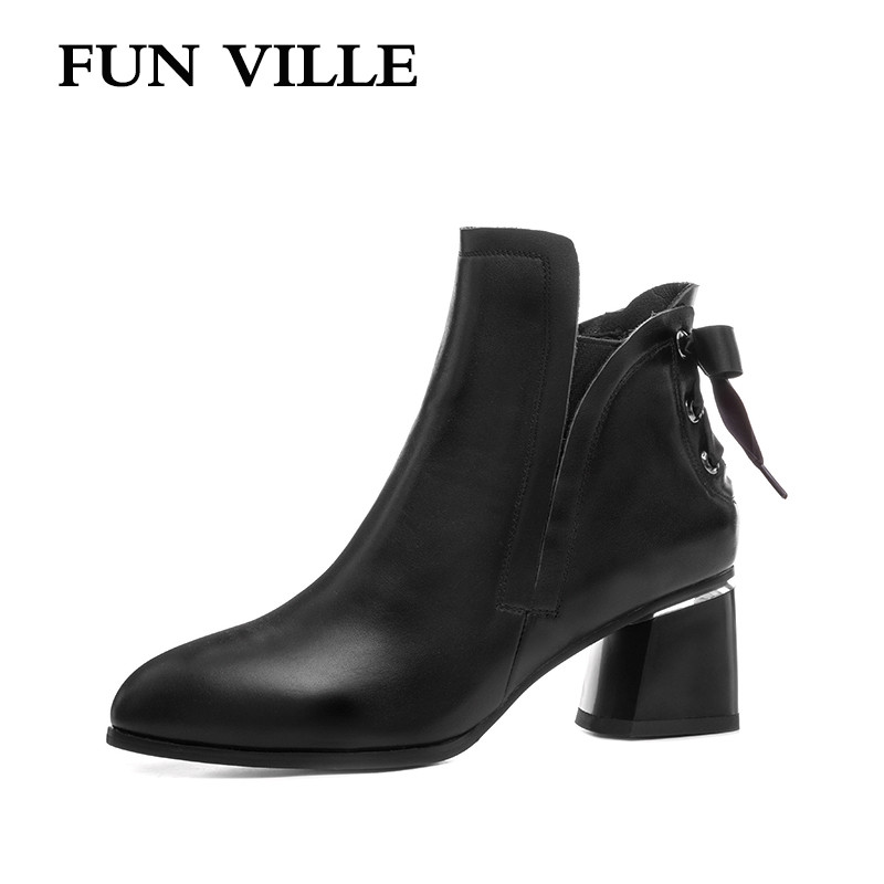 FUN VILLE 2017 New Fashion Genuine leather women Ankle boots Autumn High heel Pointed toe Slip-on Sexy Lady shoes Size 34-42 front lace up casual ankle boots autumn vintage brown new booties flat genuine leather suede shoes round toe fall female fashion