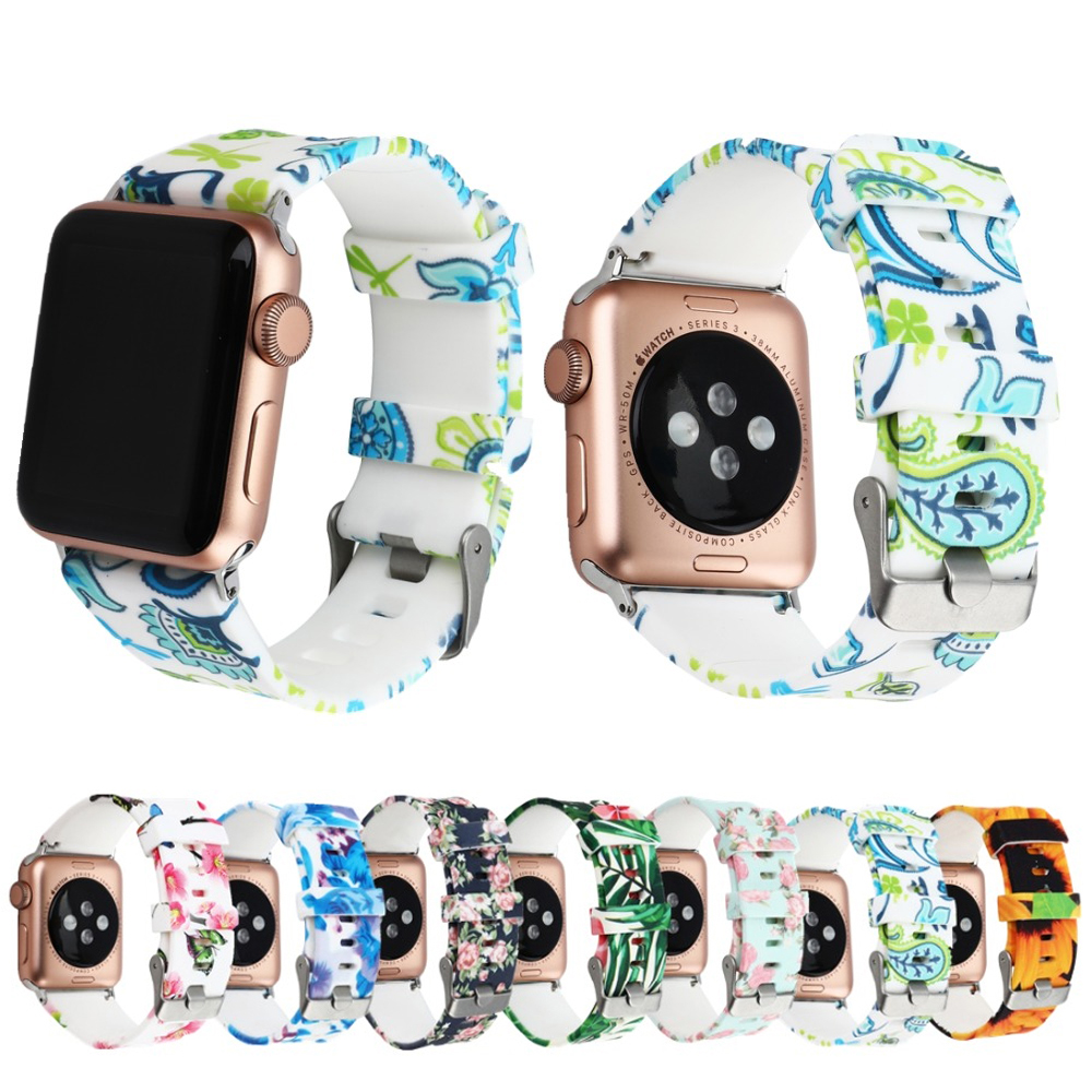 Sport Strap for Apple Watch Band 42mm 38mm Iwatch series 3 2 1 Silicone bracelet wristband printing Watchband+metal Buckle apple watch band 38mm 42mm secbolt metal replacement wristband sport strap for apple watch nike series 3 series 2 series 1