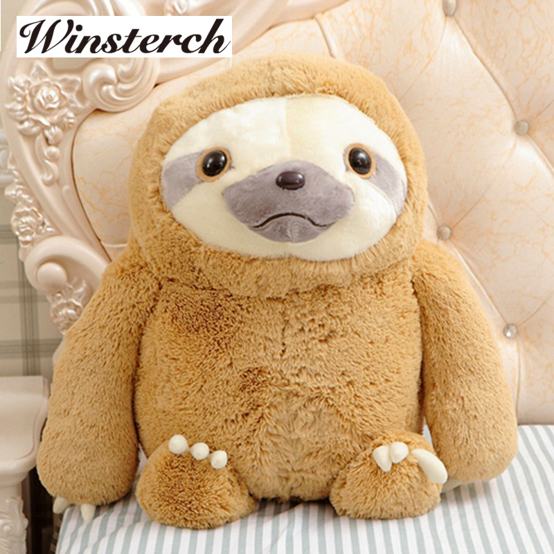 Simulation Sloth Baby Doll Lifelike Sloth Plush Toys Stuffed Dolls Kids Toys Lovely Doll Girlfriend Best Gifts Brinquedos WW36 2free shipping 2015 super cutebald eagle dolls plush toys simulation model of wildlife cute baby gifts kids toys