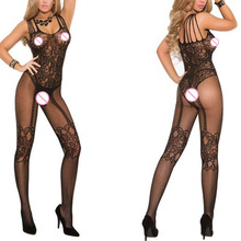 New Women Sexy lingerie Open Crotch Stockings Crotchless Fishnet Sheer Body Dress Lingerie Tights Nightwear Lace Women Stocking