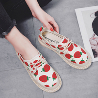 Network Red Strawberry Sport Sneakers Women Summer New Fisherman Hand Knitting Canvas Fashion Casual Skateboarding Shoes