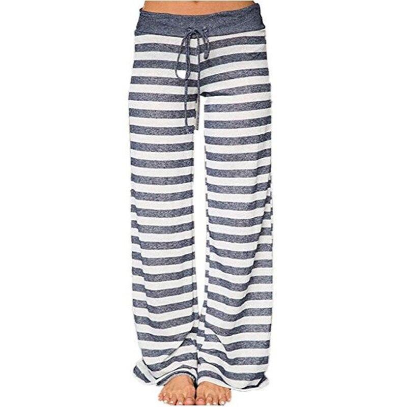 Zielstrebig Frühling Herbst Schlaf Bottoms Frauen Gestreiften Hosen Lace Up Taille Kordelzug Gestrickte Pyjama Hosen Breite Beine Lose B86791 Schlafhosen