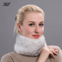 winter fur headbands for women Knitted natural mink fur scarf thick warm women fur scarves
