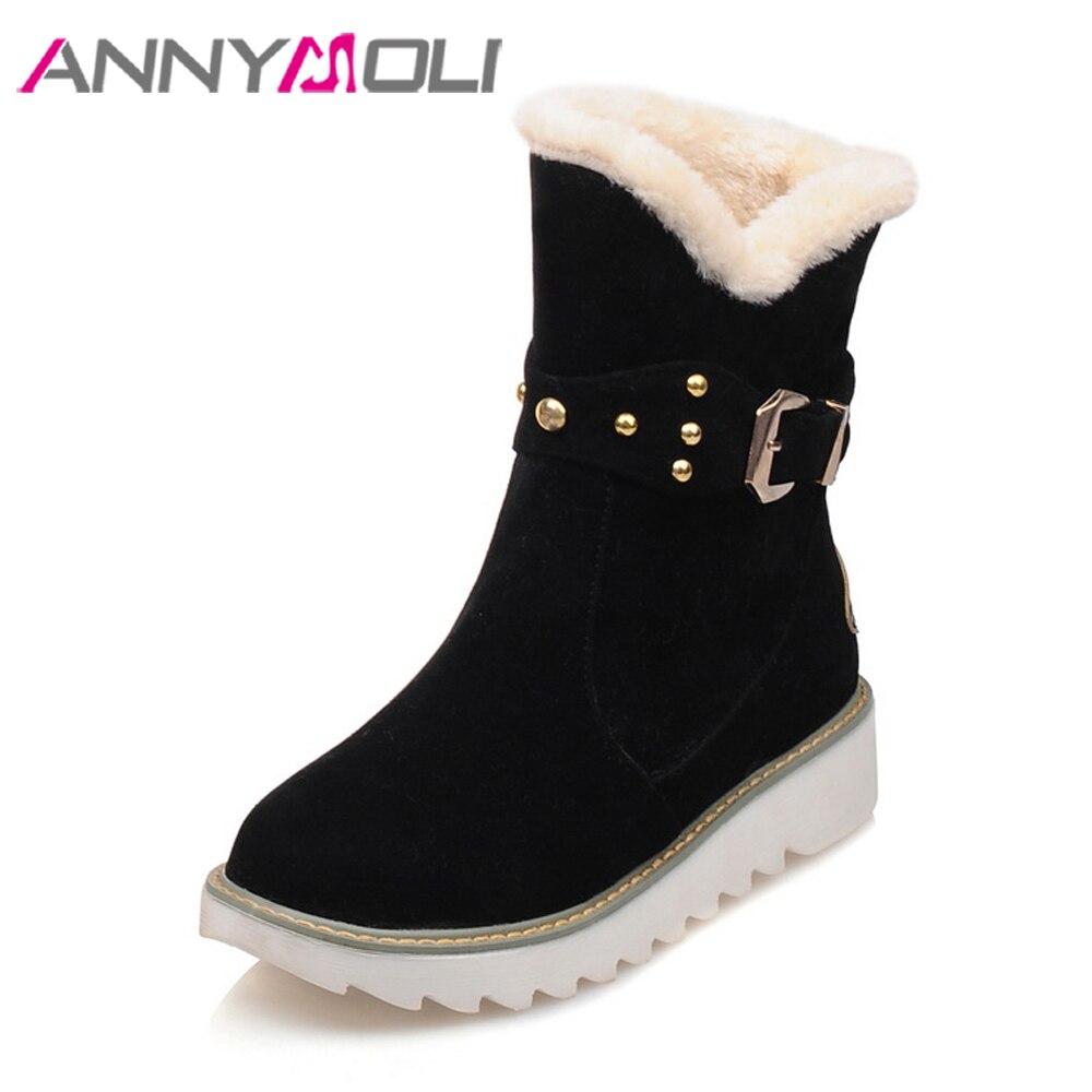 ANNYMOLI Winter Boots Women Snow Boots Plush Platform