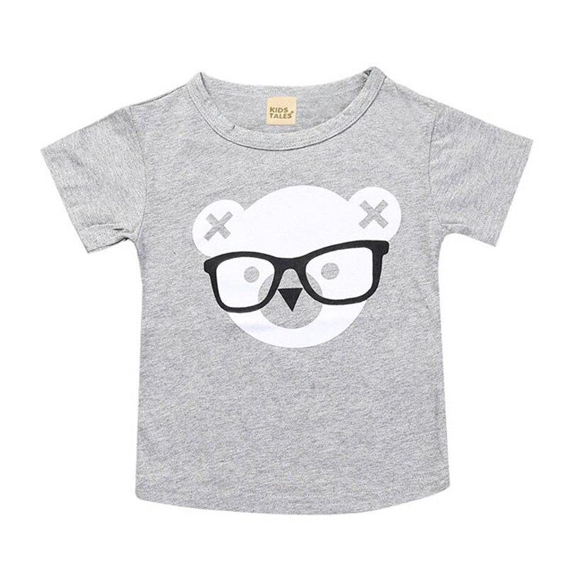 Малышей 2018 летние футболки для девочек Костюмы милый медведь хлопок короткий рукав мультфильм детей футболки От 1 до 6 лет Обувь для мальчик...
