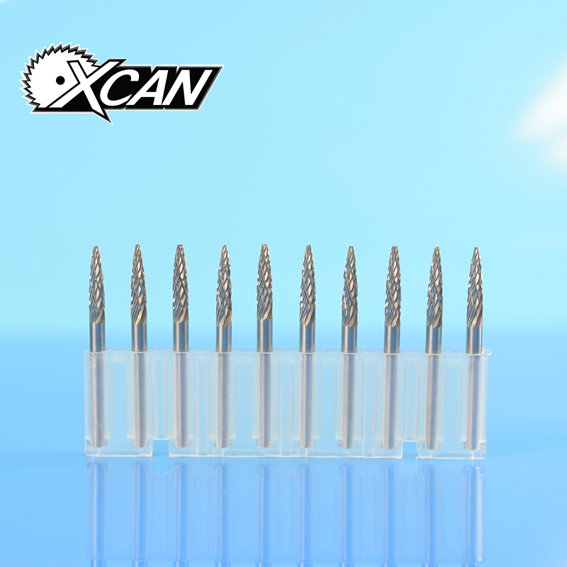 цена на XCAN 10pcs 1/8 Tungsten Carbide Rotary Burrs Set For Dremel Rotary Tools Milling Cutter Engraving Bits Cutting Edge Dia 3mm