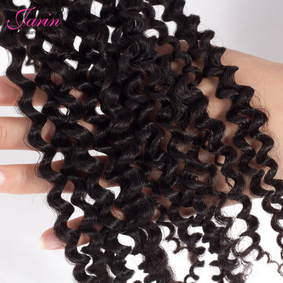 Jarin Indian Deep Curly Lace Closure Free Parting Bleached Knot 4x4 Swiss Lace 100% Remy Human Hair Weave Top 8A Grade Closure