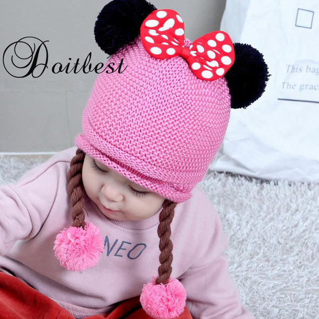 4c28b54ec07d Doitbest Two wigs wool Winter hats Baby Child knitted hat Bowknot fur ball  kids girls Earflap