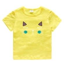 2019 Summer Kids Clothes Cute Cartoon Cat Pattern Print Short Sleeve T-Shirt Toddler Girls Top