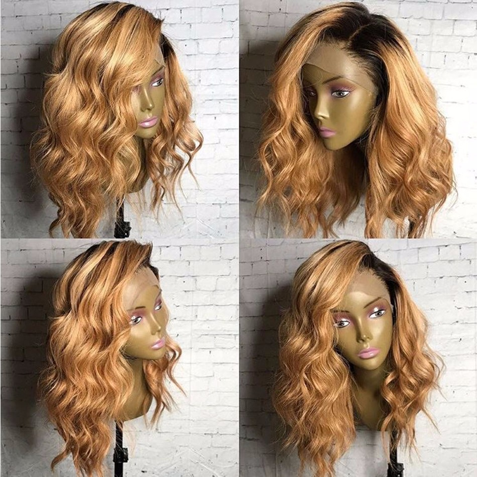 Ombre Blonde Wig Human Hair Wavy Short Blonde Full Lace