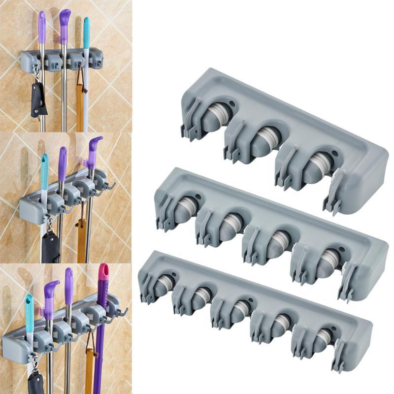 Kitchen Organizer Mop Holder 5/4/3 Position Brush Broom Hanger Storage Rack Household Mop Brush Hanger Kitchen Gadgets