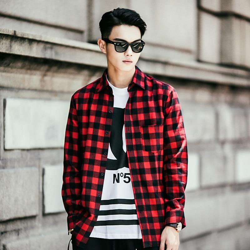 new fashion Men Shirt 2015 Flannel Turn down Collar Plaid ...