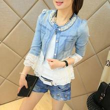 Jeans Jacket Women Casacos Feminino Slim Lace Patchwork Beading Denim Female Elegant Vintage Jackets Coat Loce Jacket
