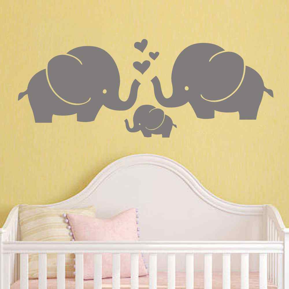 Elephant Family Wall Decal Nursery Elephant Wall Decal Baby Boy or Girl Room Vinyl Wall Decal Wall Art Baby Crib Decor-in Wall Stickers from Home u0026 Garden ... & Elephant Family Wall Decal Nursery Elephant Wall Decal Baby Boy or ...